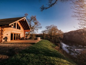 Kingfisher Riverside Log Cabin with Private Hot Tub in Rural Cumbria, near Carlisle, England