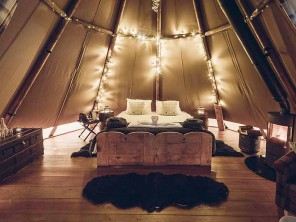 Hartington Tipi on a Glampsite in the Peak District, Hartington, Derbyshire, England