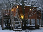 Treehouse in snow