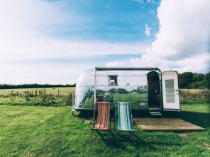 Vintage Airstream Caravans in a Rural Setting near Ryde on the Isle of Wight, England