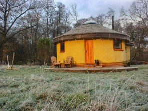 Handcrafted Roundhouse on a Rural Glampsite near Weston Longville, Norfolk, England