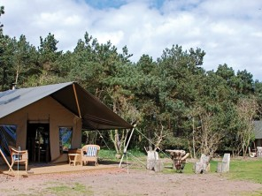 Safari Tents on the Beach at Lochhouses, nr Edinburgh, Scotland