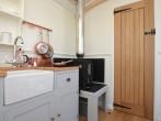 Warming woodburner and oak fittings