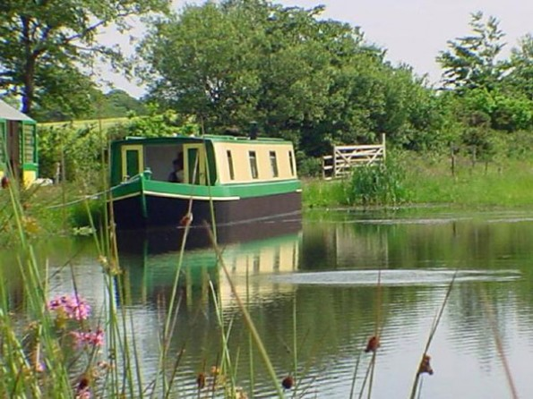 Houseboat on a lake in Devon