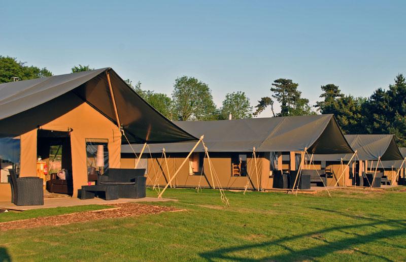 Tented lodges in a safari park in Kent